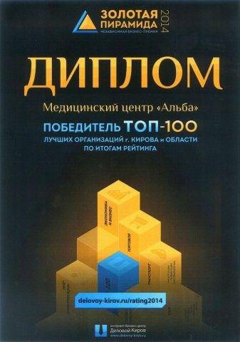 Диплом ТОП 100