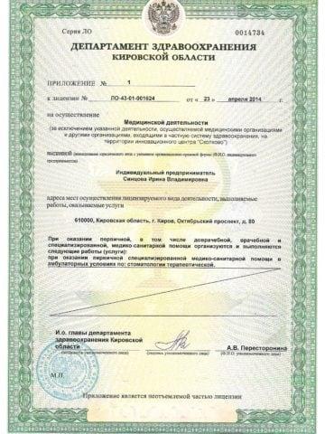 Лицензии Синцова 003